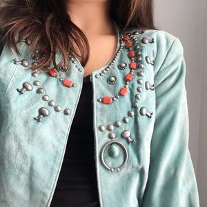 Double D Ranch Teal Leather Beaded Blazer